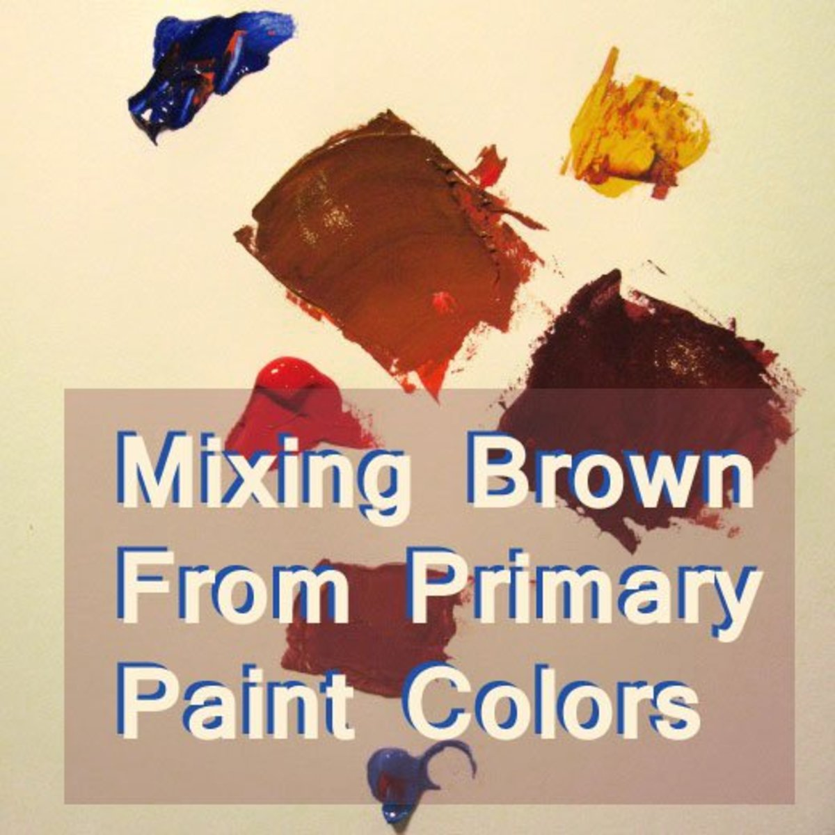 Mixing brown paint from red, blue, and yellow.