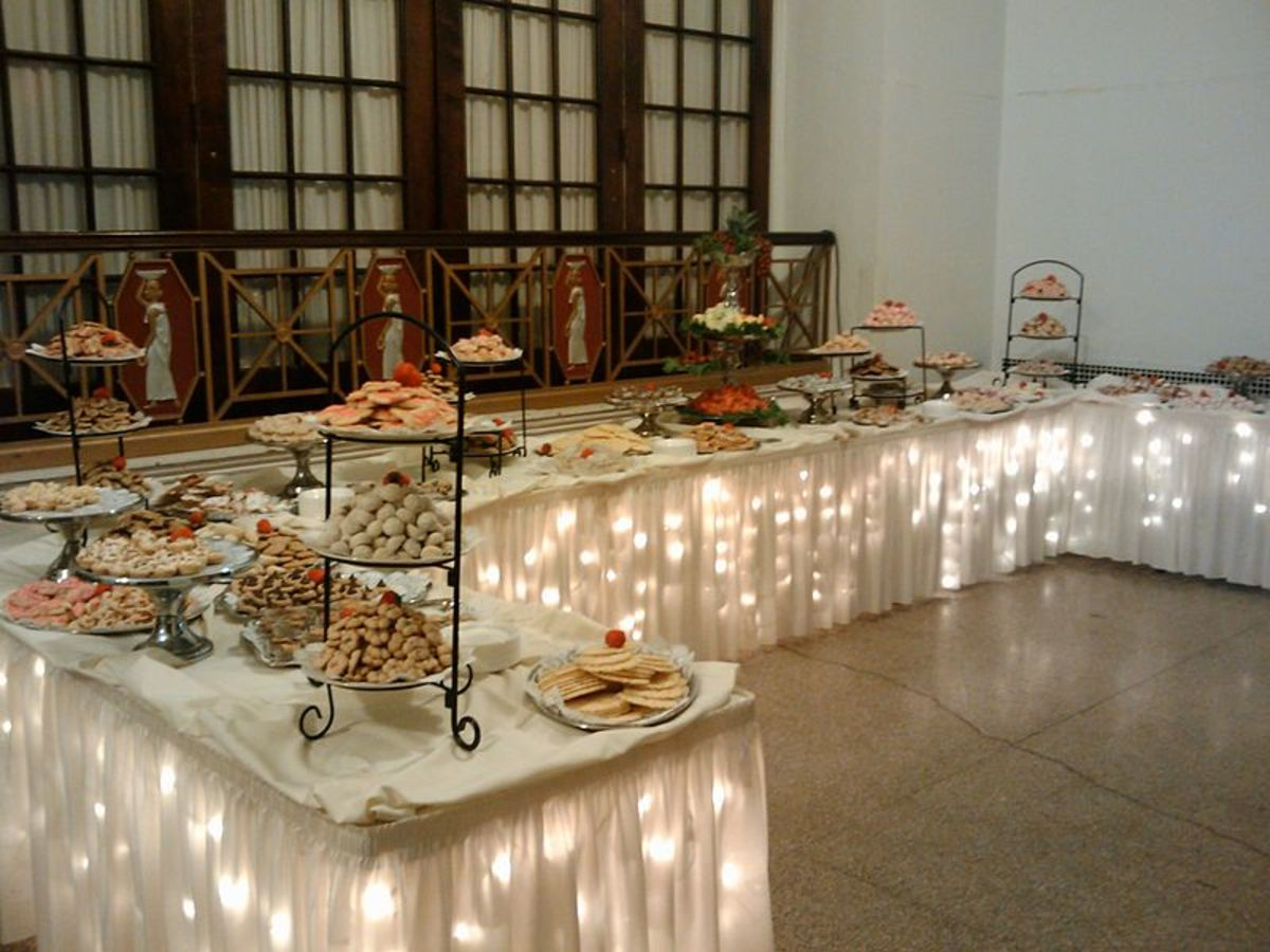 A traditional Pittsburgh cookie table at a wedding.