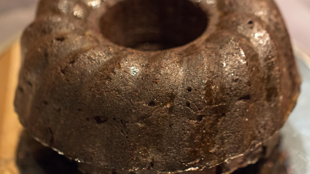 Dark chocolate bundt cake with a strong coffee-Kahlua glaze—decadent!