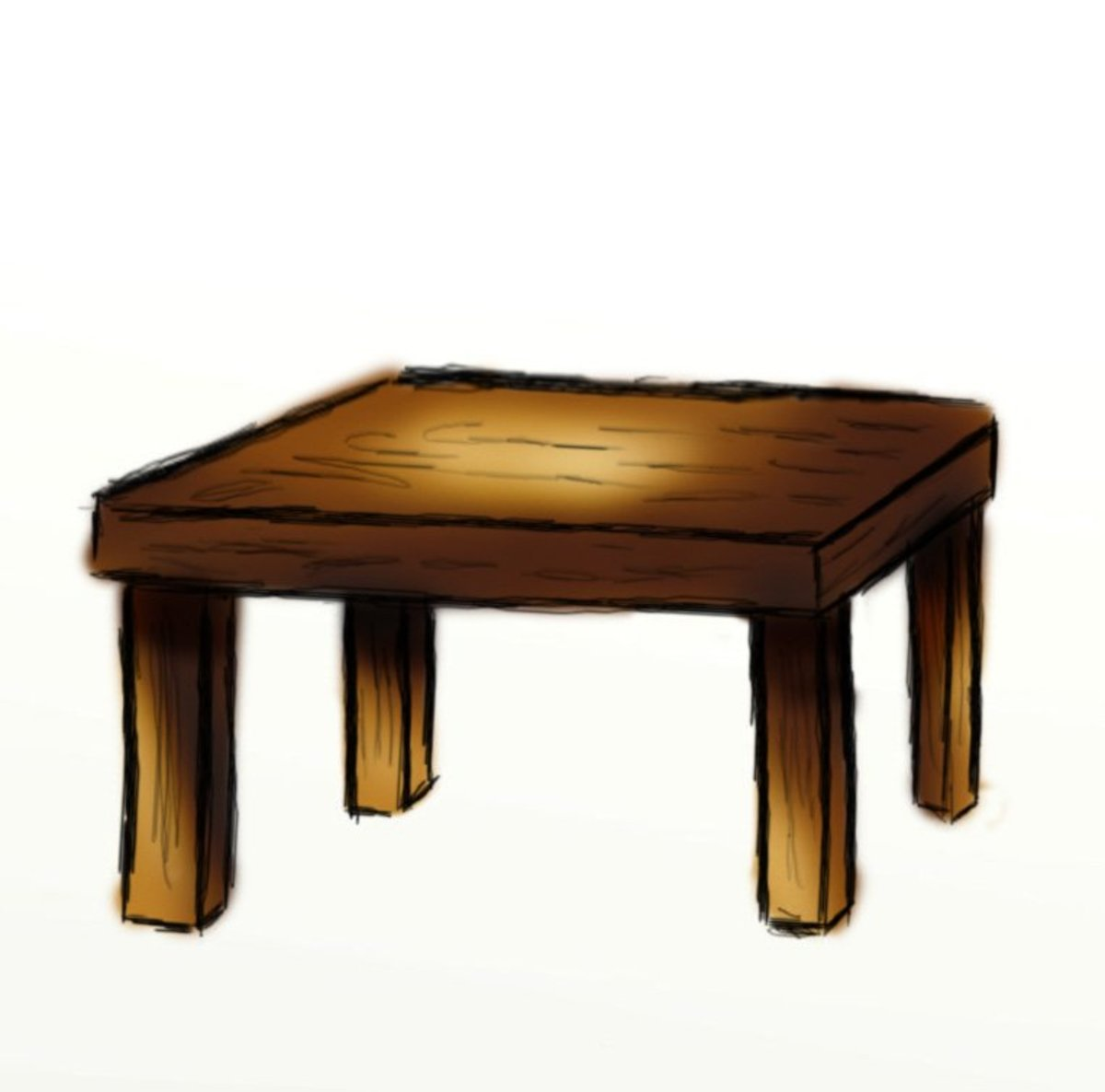 how to draw a table side view