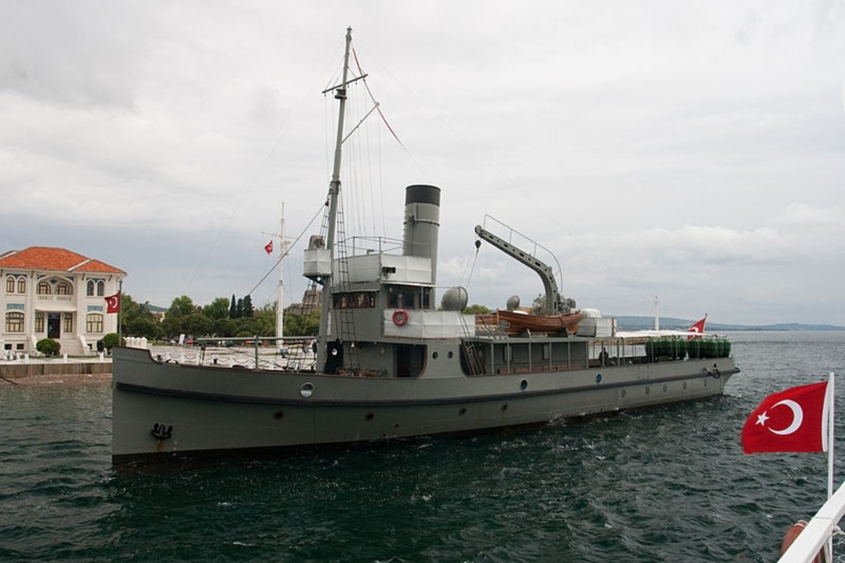 "Replica of the Turkish minelayer ""Nusret"" on display in Canakkale."