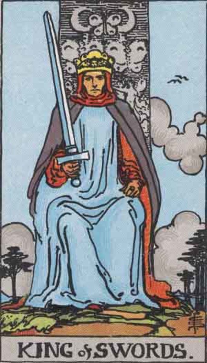 The King of Swords -  Rider-Waite tarot deck. Copyright-free  Pamela A version c1909.