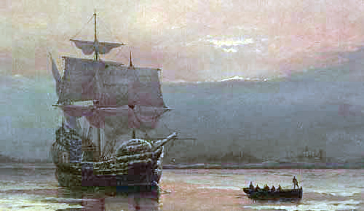 """Mayflower in Plymouth Harbor,"" by William Halsall, 1882 at Pilgrim Hall Museum, Plymouth, Massachusetts, USA,"