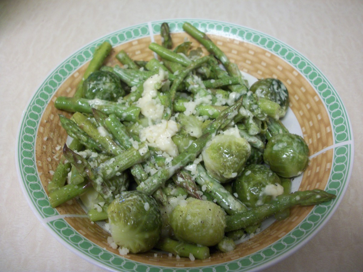 Asparagus and Brussels sprouts with parmesan will offer a surprising combination of flavor, and both of these vegetables are extremely healthy!