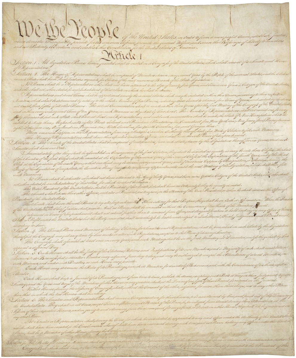 The first page of the United States Constitution.