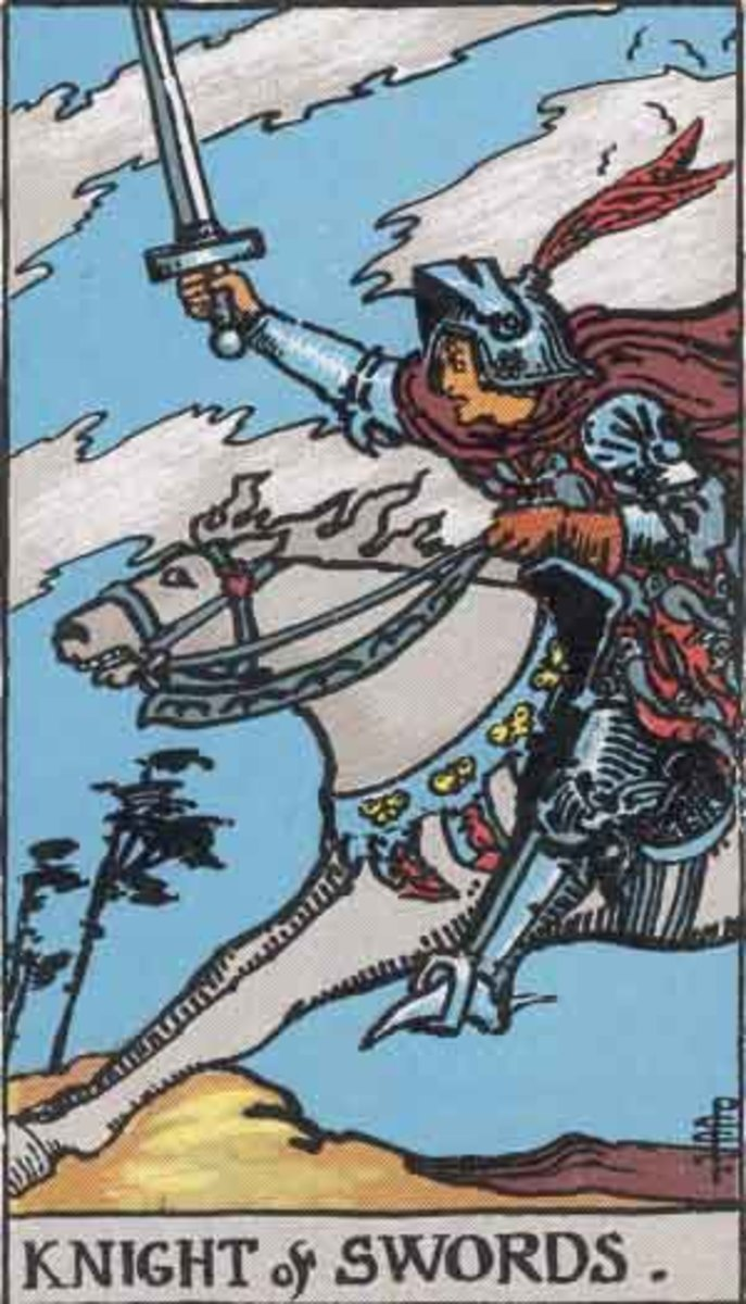 The King of Swords -  Rider-Waite tarot deck. Copyright-free  Pamela A version c1909.
