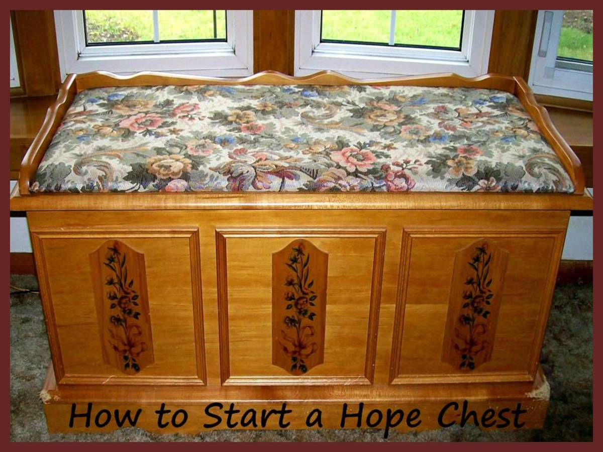 "The author's current ""hope chest"" - now mostly filled with years of writing materials, poetry and scribbles that no one has ever seen, etc.  Source:  Sharyn's Slant"