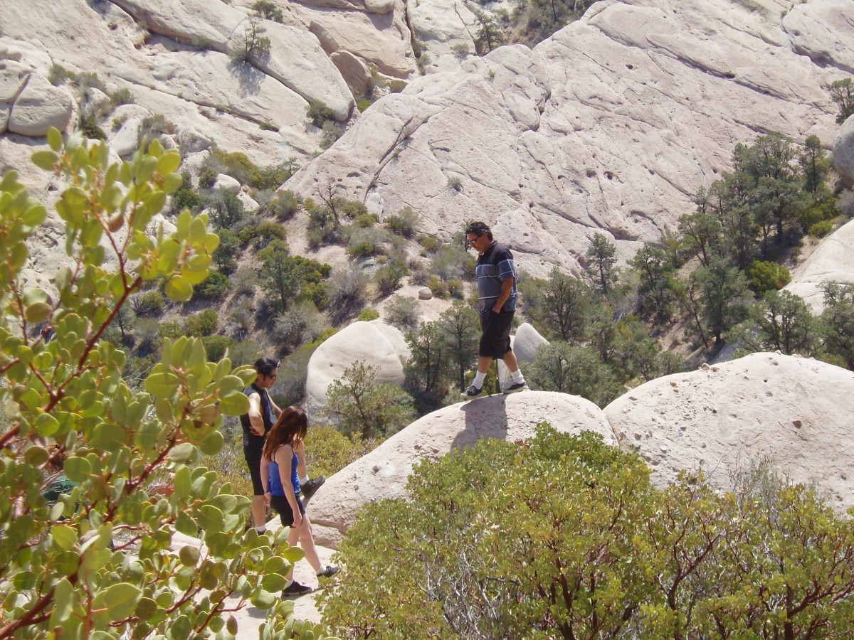 Although there are trails to follow, many hikers prefer the challenge of climbing the rocks.