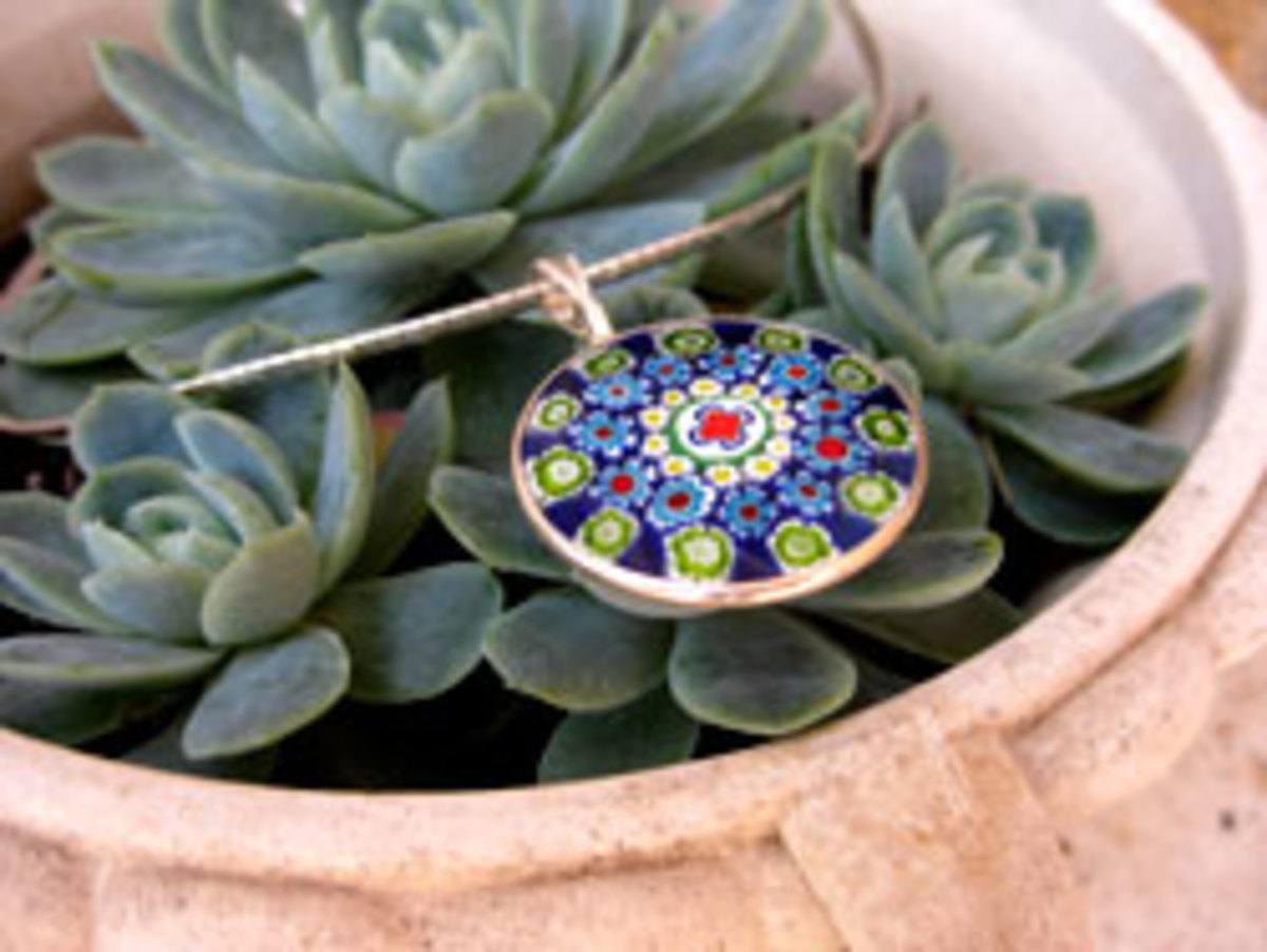 You can find some really beautiful millefiori pendants online, like this one I bought last year.