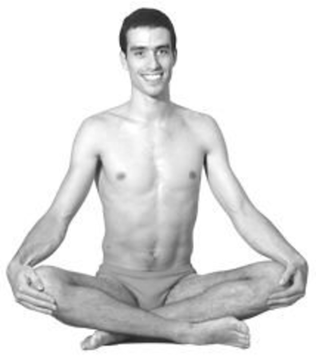 Sukhasana or easy posture for sitting cross legged on the floor for doing yoga, pranayama or meditation