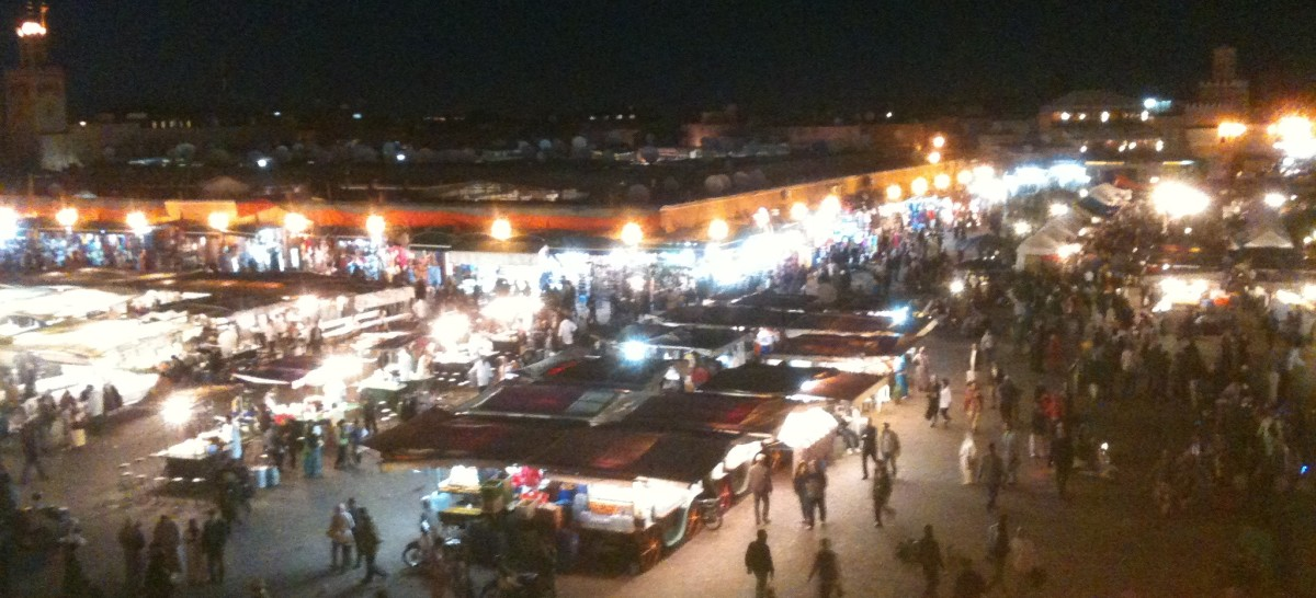 Looking out on the Djemaa el Fna and the bustling souks of Marrakech, Morocco
