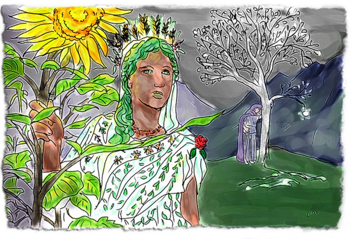 Yavanna bearing the Sun-flower from one of the two dying Trees of Light. (Nienna weeps for the other tree, Nimloth, from which came the Moon.)