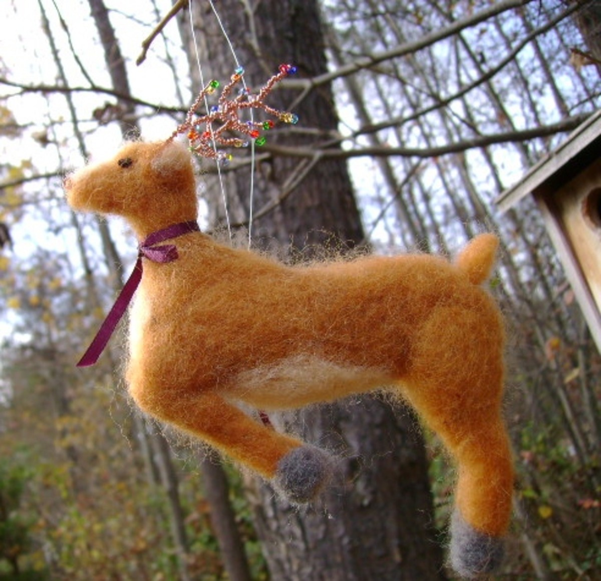 handmade needle felted reindeer ornament  (c) purl3agony 2012