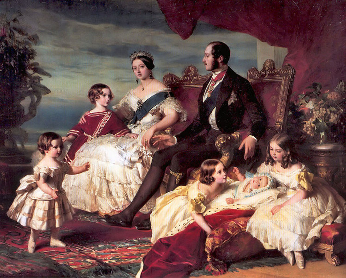 Victoria and Albert with some of their children.  Left to right Prince Alfred (yes, in a dress!), Prince Albert (later Edward VII), Victoria, Albert, Princesses Alice, Helena and Victoria