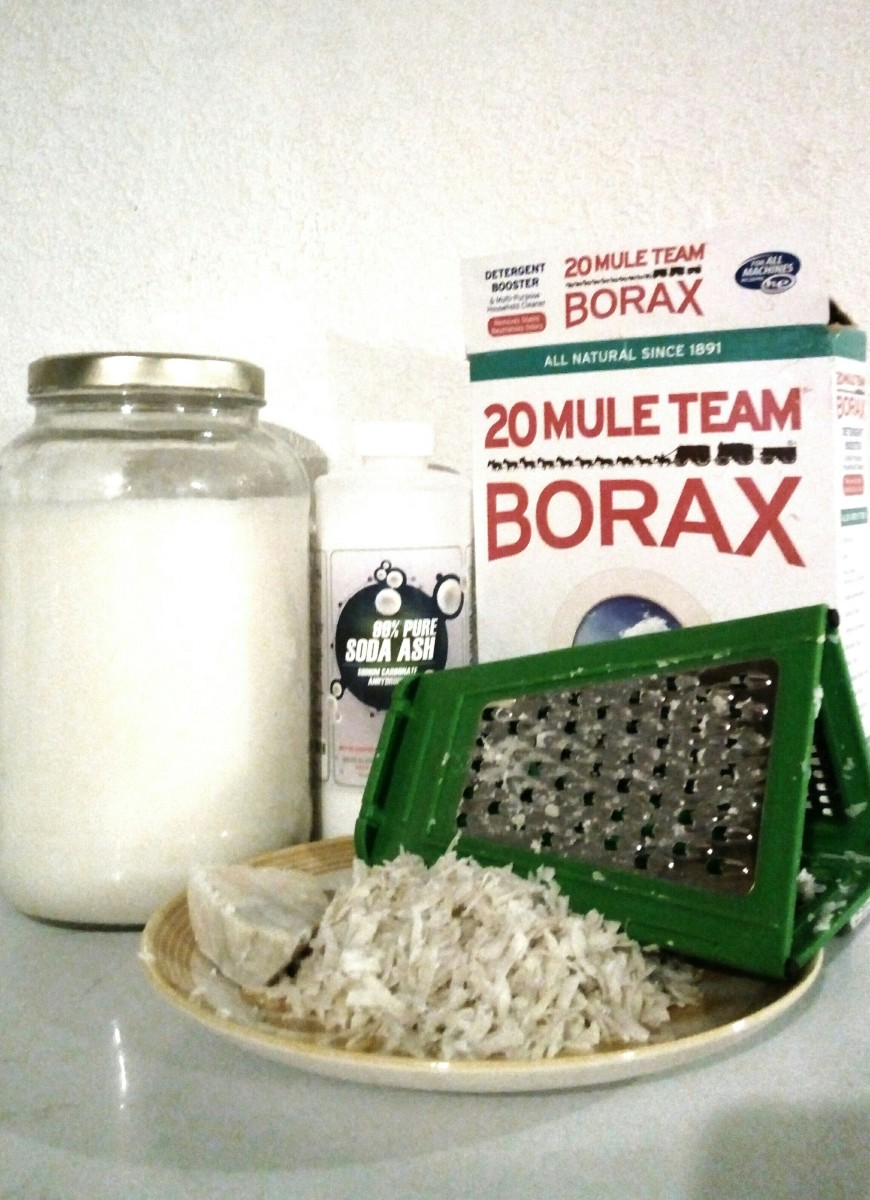 All natural liquid laundry soap - the finished product, and the ingredients I use to make it!