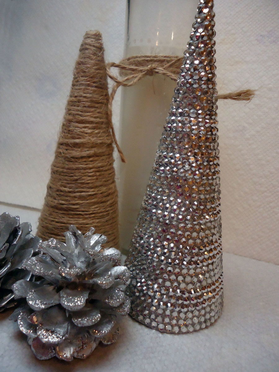 DIY Christmas Decor- Create a Sparkly Rhinestone Covered Christmas Tree Cone