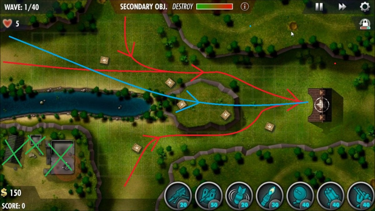 Red lines mark ground unit paths, blue lines are air and the green Xs mark the buildings for the secondary objective.