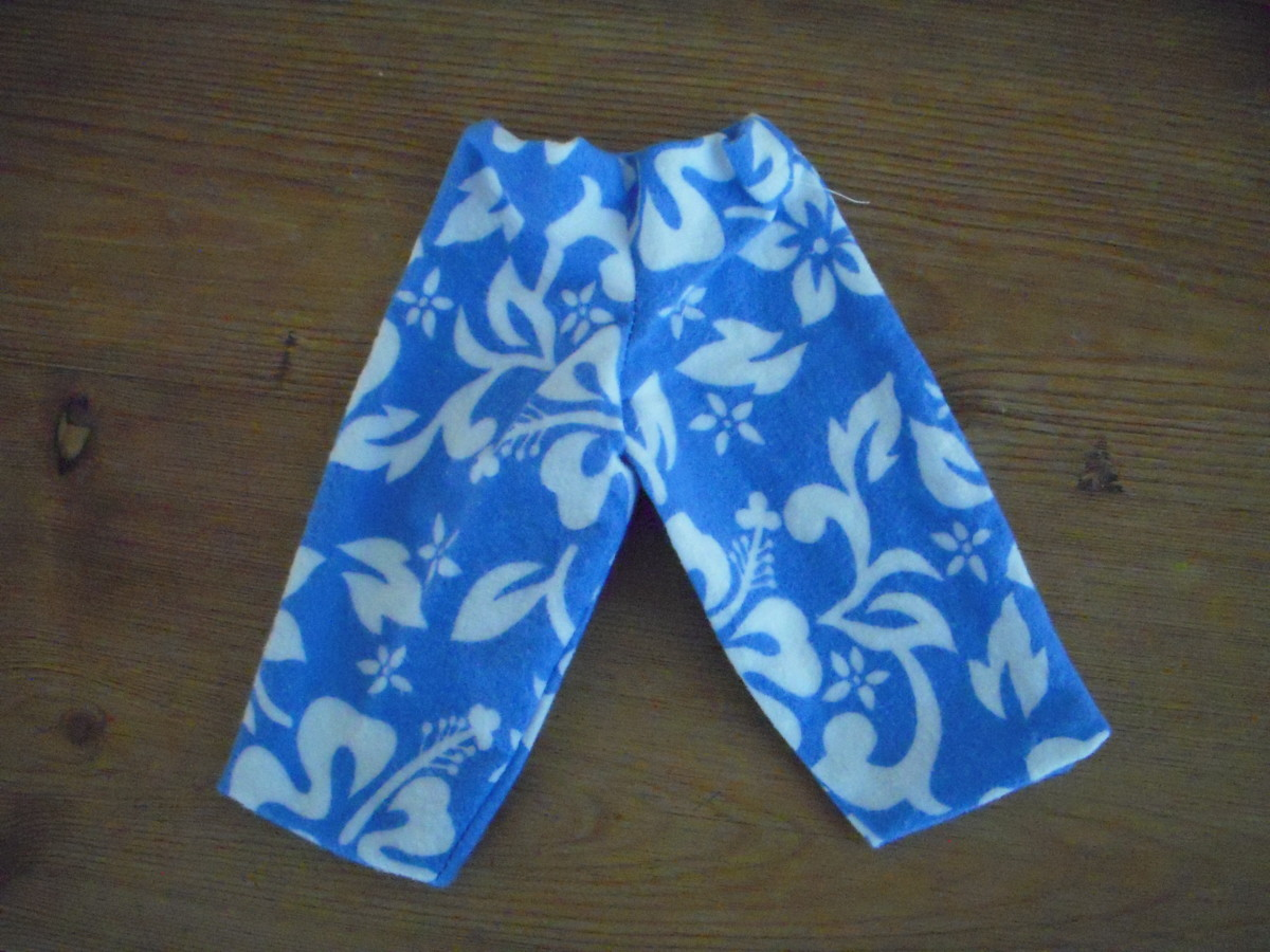 A mini version of a complete pair of pajama bottoms.