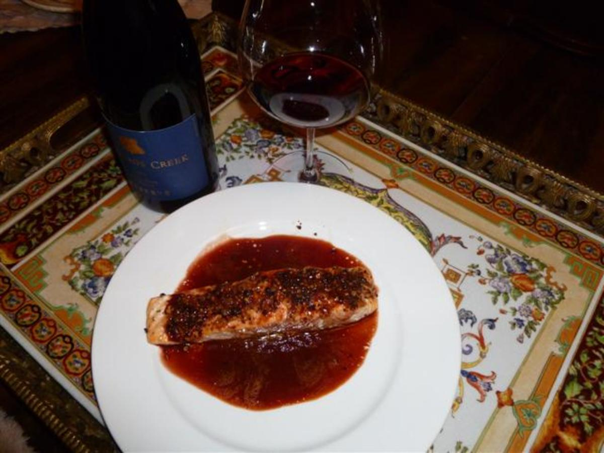 Melt in your mouth salmon in a delicious Pinot Noir sauce
