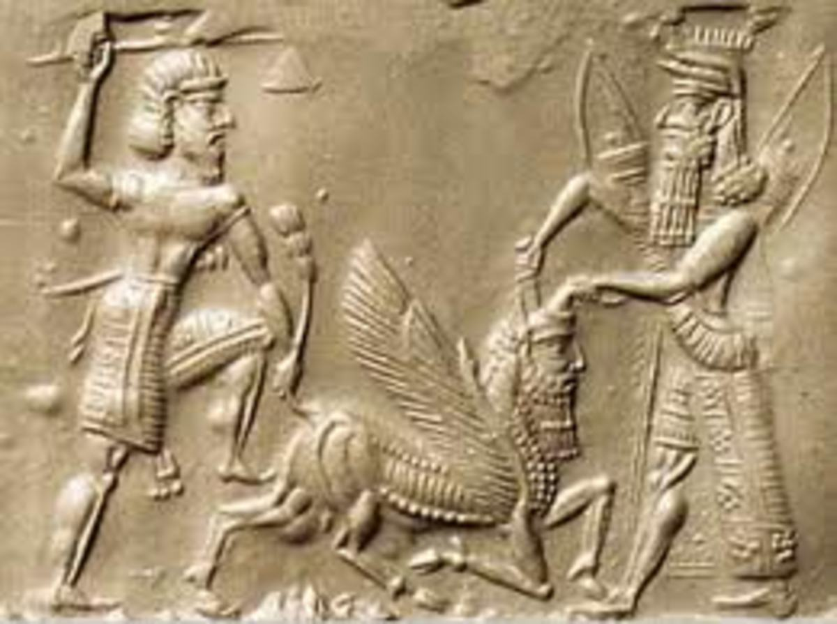 Gilgamesh (right) and Enkidu offending the gods by slaying the Bull of Heaven.