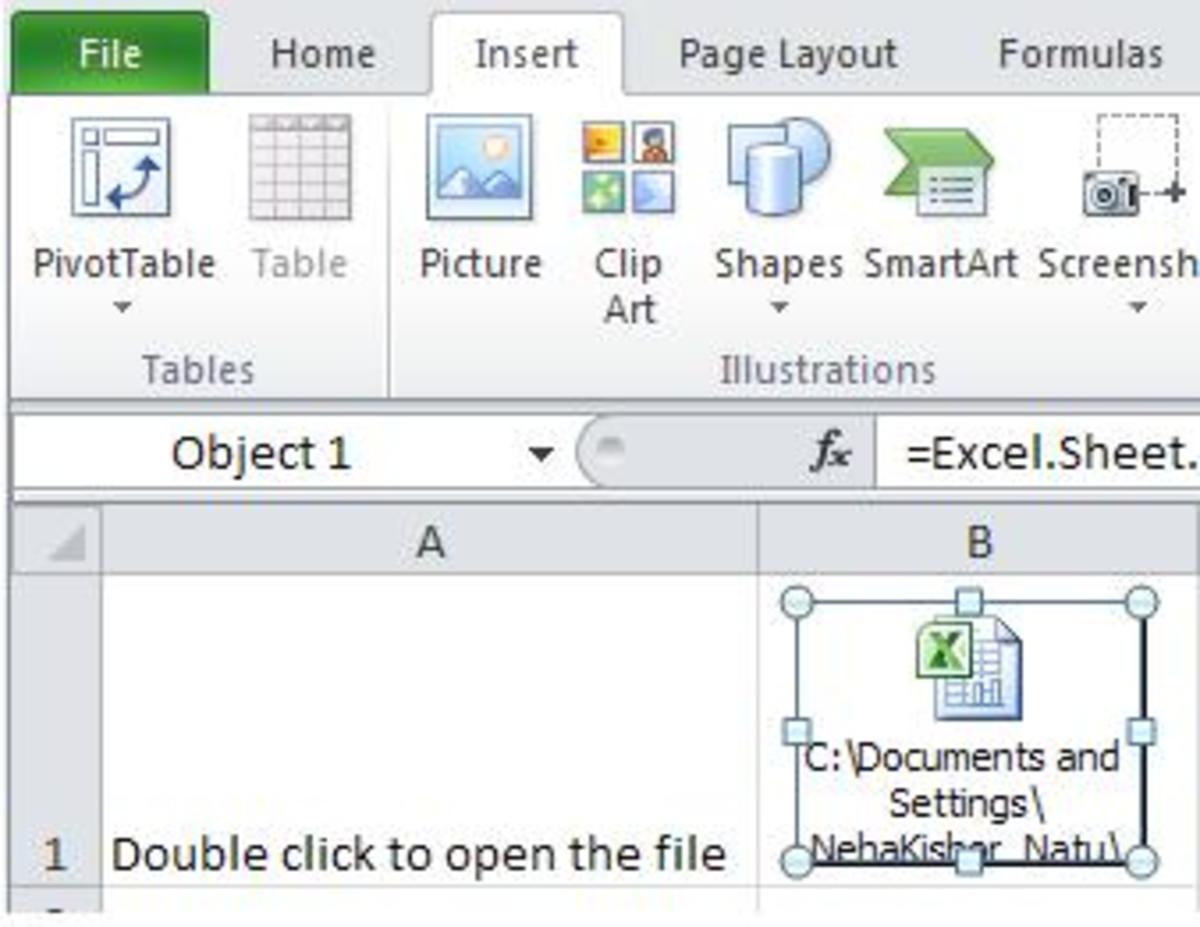 Step-by-step tutorial to embed a file as an object in a Microsoft Excel worksheet.