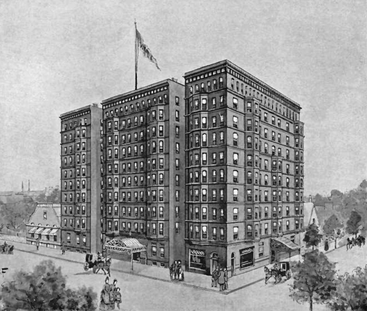 The Virginia Hotel (1889-90) at Rush and Ohio Streets, designed by Clinton J. Warren.