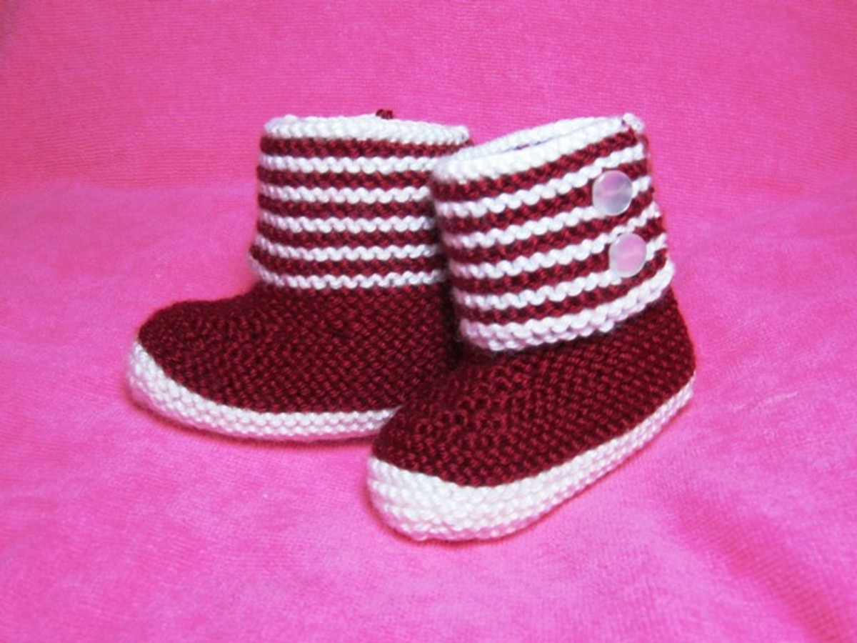 Boot-Style Baby Booties for Cold Weather: Free Knitting Pattern