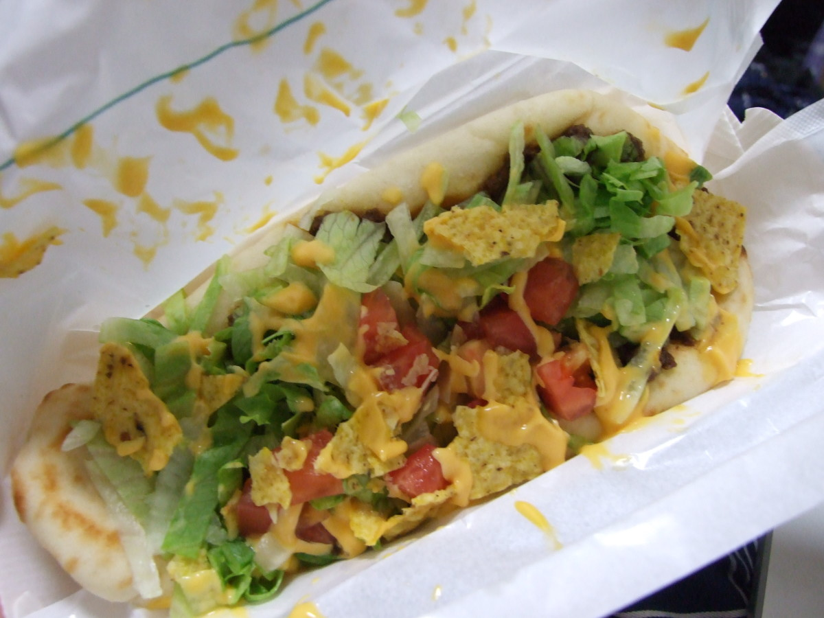 This is a naan taco.  I got it at  Mos Burger.  You shouldn't eat it.  Not just because it has bread in it, but also because it was kind of disgusting.