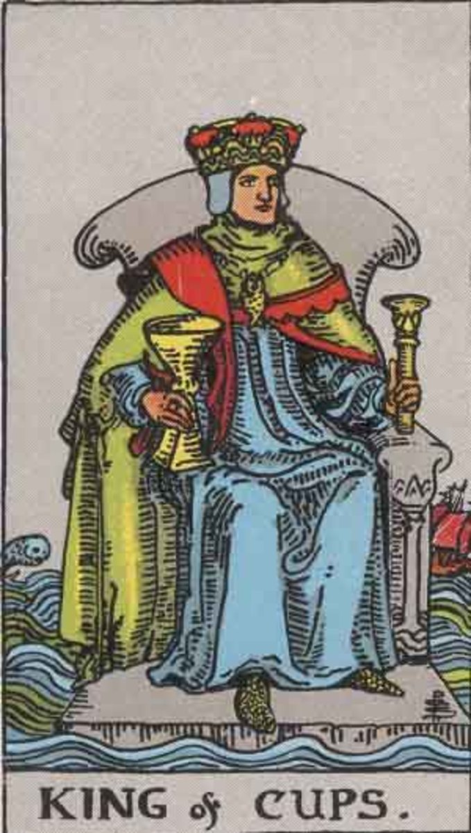 The King of Cups – Rider-Waite tarot deck. Copyright-free Pamela A version c1909.