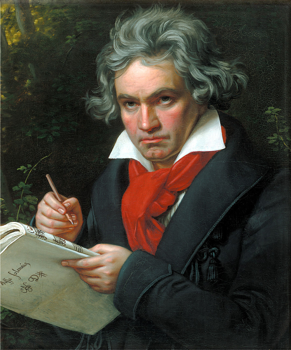 Painting of Beethoven around 1819-1820.  In his hand is the score he was currently working on, the Missa Solemnis.