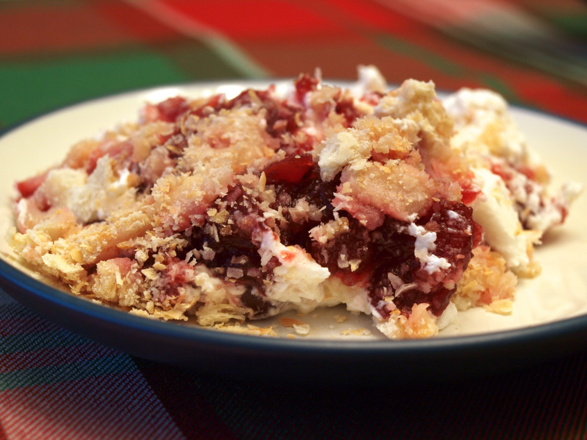 Cranberry Dessert With Whipped Cream and Crackers Recipe