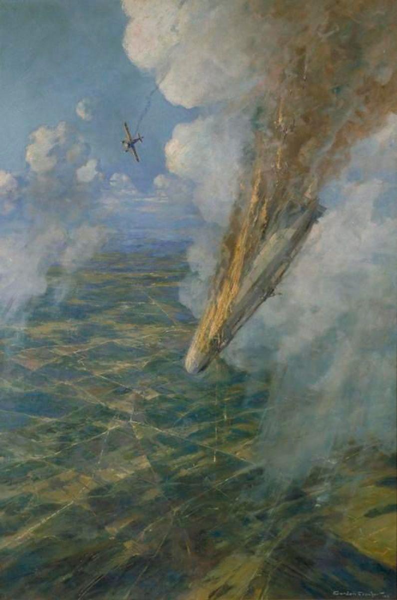 "WW1: Artist Frederick Gordon Crosby's impression of the destruction of German Zeppelin LZ 37 by Sub-Lieutenant Reginald (""Rex"") Warneford on 7 June."