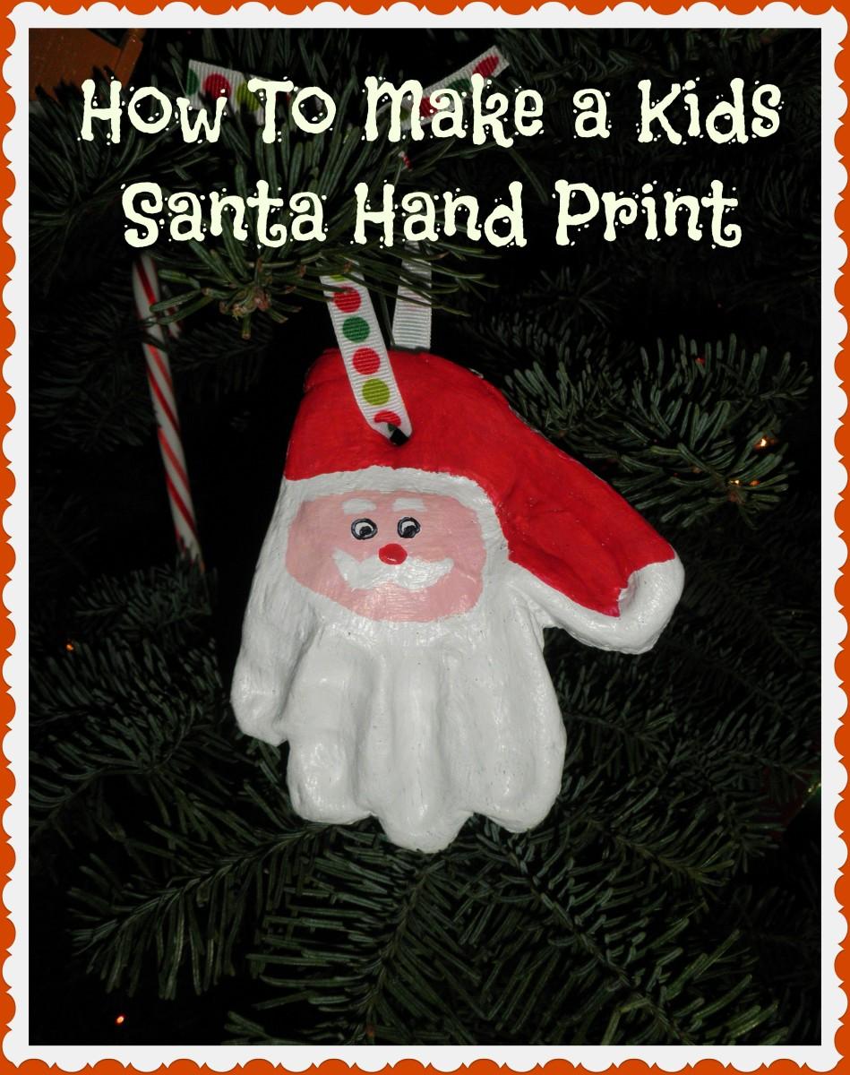 How to Make a Kids Clay Christmas Santa Hand Print Ornament
