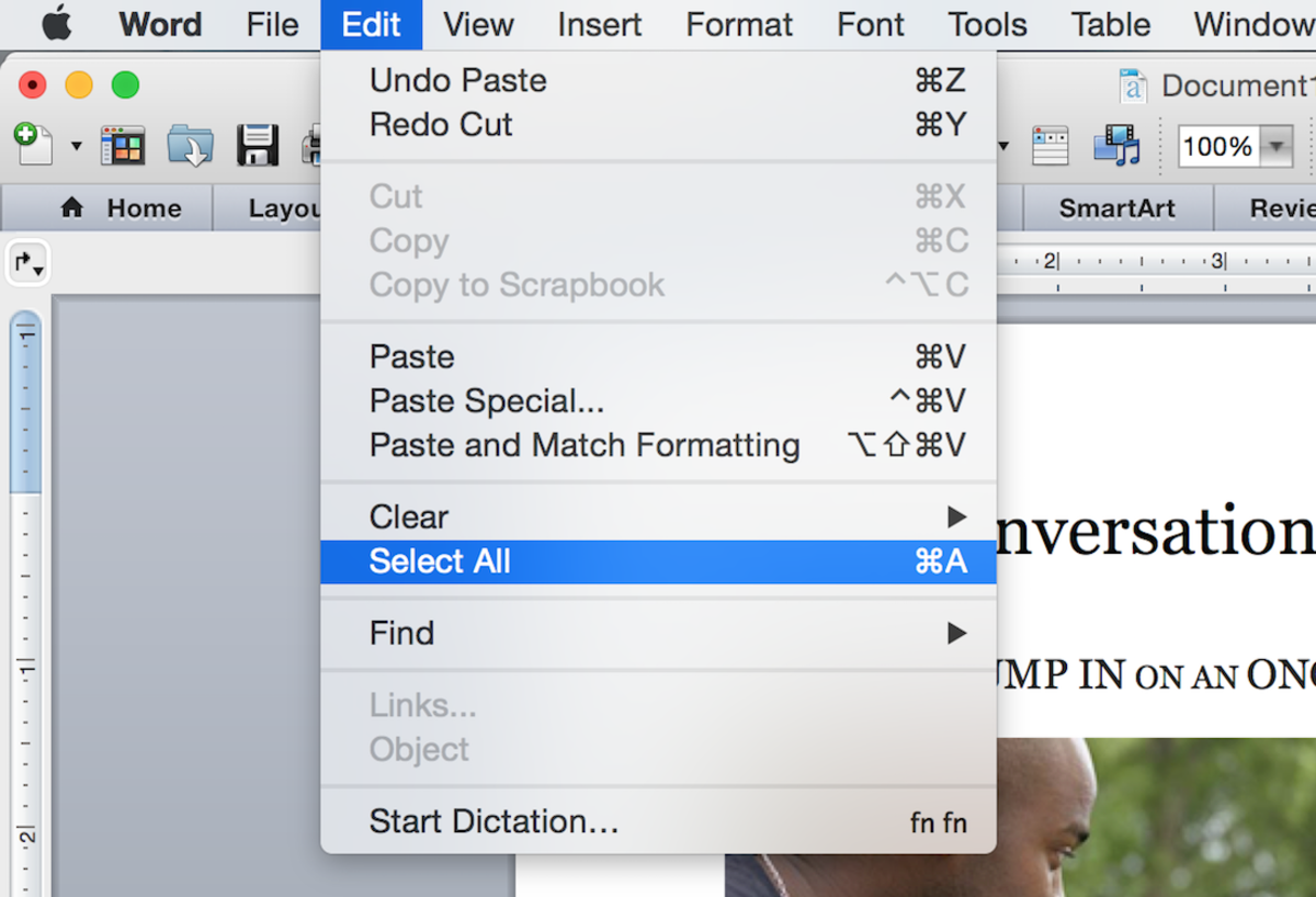 Select all (shown here on Word 2016 for Mac)