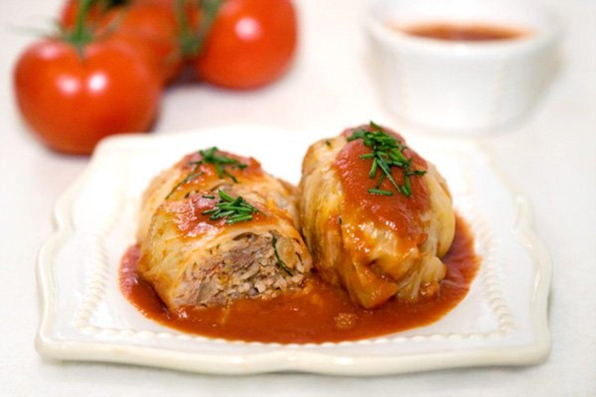 Polish golumpki (golabki): stuffed cabbage rolls.