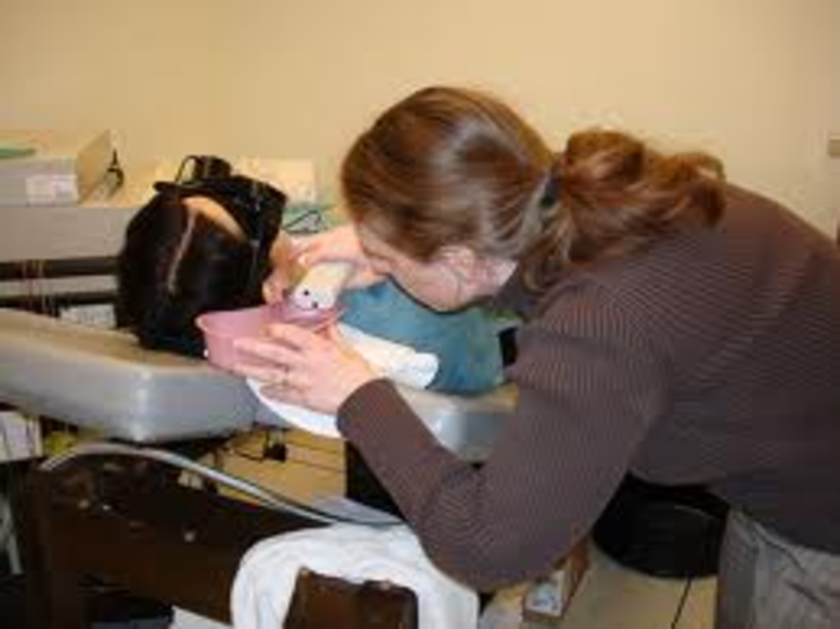 A patient undergoing caloric testing