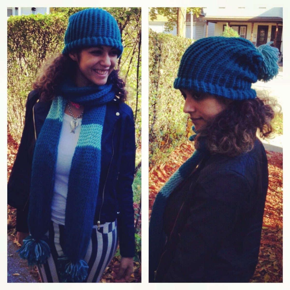 My first loom knit project was this scarf and hat I made on a circle loom.  The scarf is extra thick, warm, and nice and soft!  I love it!