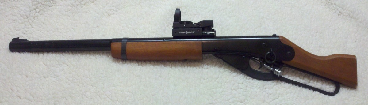 A modified Daisy Red Ryder BB gun.