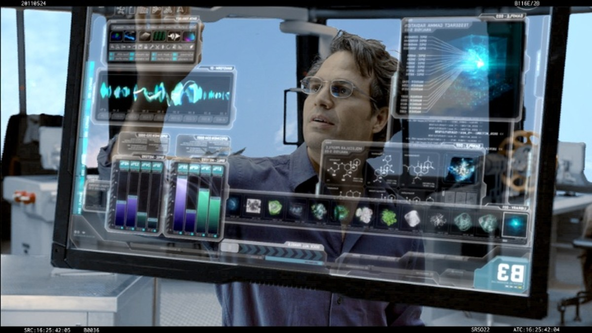 """Dr. Bruce Banner (aka The Hulk) manipulating a GUI on the Avengers set."""