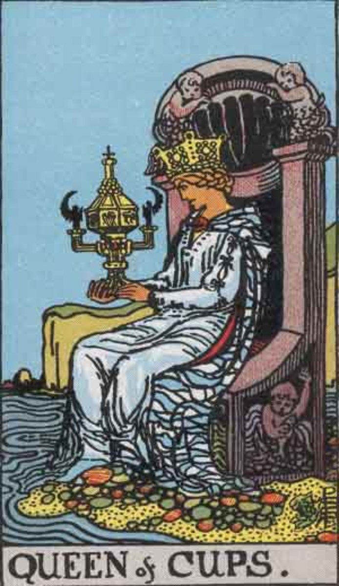 The Queen of Cups - Rider-Waite tarot deck. Copyright-free Pamela A version c.1909.