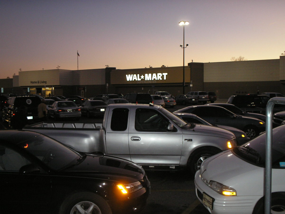 A typical Wal-Mart Supercenter in Orangeburg, SC. All marketers love the idea of full parking lots of customers who are ready and eager to purchase their products.