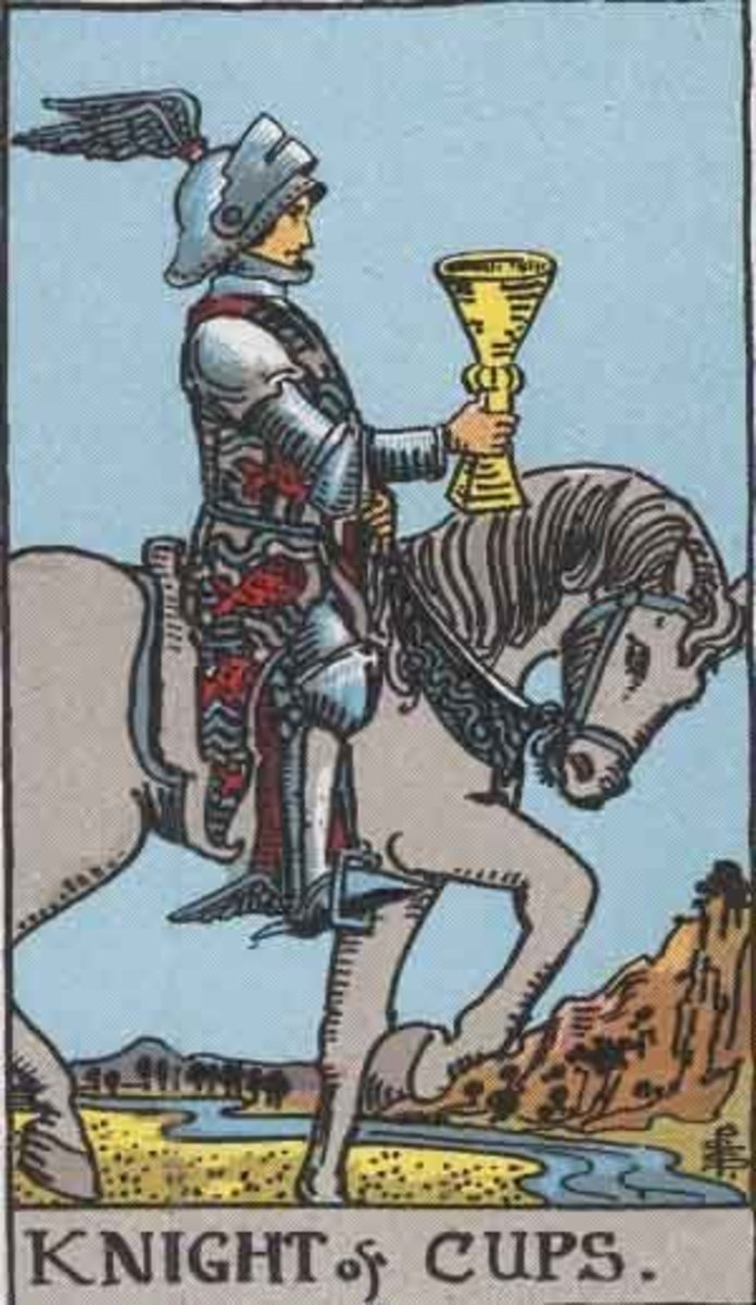 Knight of Cups Rider Waite deck. Public Domain image, Pamela A. version c. 1909.