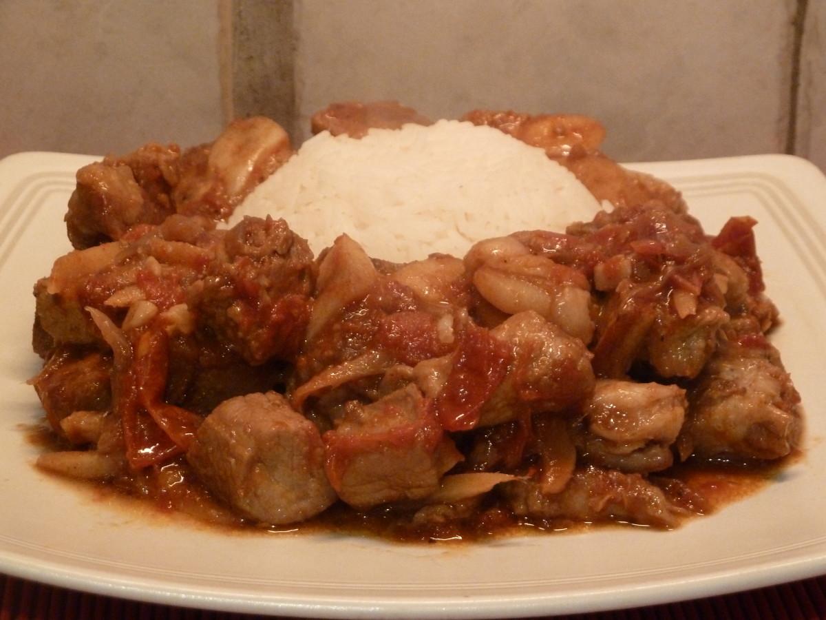 Pork adobo with rice.