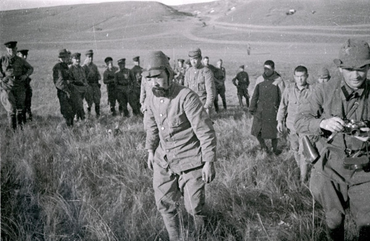 WW2: Captured Japanese soldiers, Khalkhyn Gol. Date August 1939.