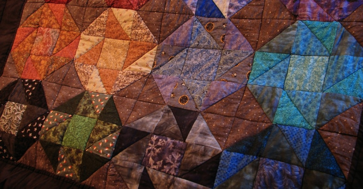 My finished patchwork quilt - quick and easy to design and sew.