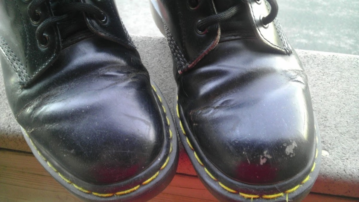 Creased and scratched leather shows the full life these boots have had, and they are still perfectly wearable.
