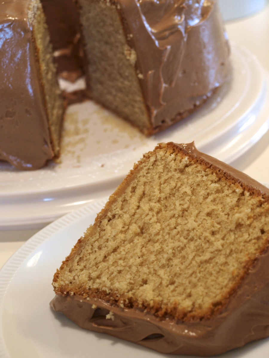 Peanut butter pound cake with peanut butter frosting