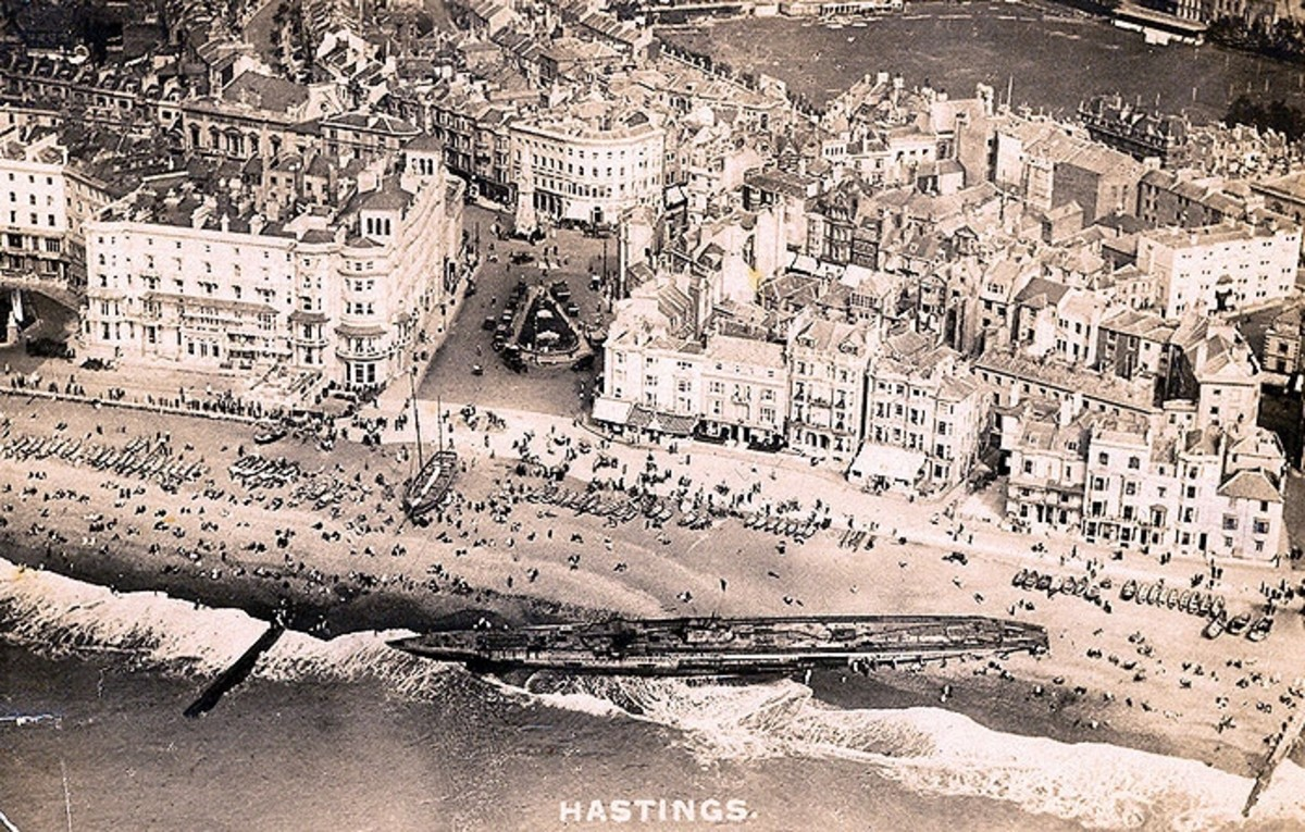 World War One: Aerial view of German U-Boat washed up on its way to France 1918