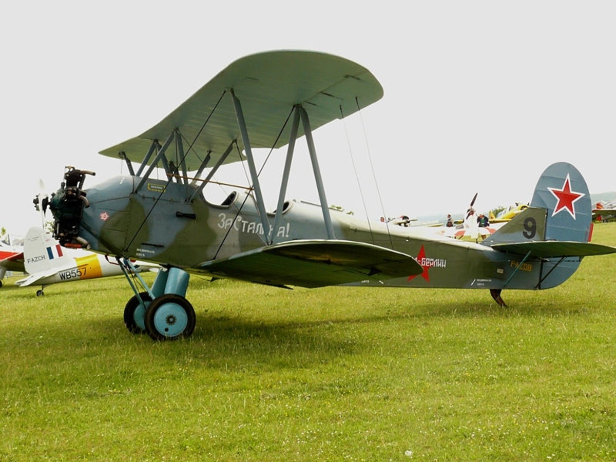 WW2: A Polikarpov Po-2 biplane, similar to the aircraft operated by the Night Witches during their night bombing missions.