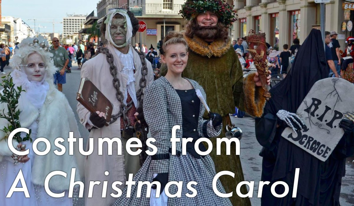 "Costumes for various characters, including Ebenezer Scrooge, from Charles Dickens's ""A Christmas Carol"""
